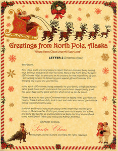 Deluxe Santa Letter and Tube Package for Babies and Kids. Letter 2 shown. Available from Santa's Letters and Gifts in North Pole, Alaska.