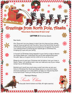Santa Letter and Northern Lights Package for Babies and Kids, Letter 2 shown. Available from Santa's Letters and Gifts in North Pole, Alaska