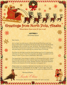 Deluxe Santa Letter and Tube Package for Babies and Kids. Letter 3 shown. Available from Santa's Letters and Gifts in North Pole, Alaska.