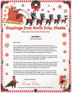Santa Letter and Northern Lights Package for Babies and Kids, Letter 3 shown. Available from Santa's Letters and Gifts in North Pole, Alaska.