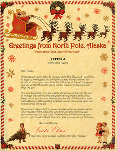 Deluxe Santa Letter and Tube Package for Babies and Kids. Letter 4 shown. Available from Santa's Letters and Gifts in North Pole, Alaska.