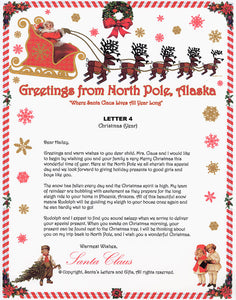Santa Letter and Northern Lights Package for Babies and Kids, Letter 4 shown. Available from Santa's Letters and Gifts in North Pole, Alaska.