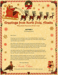 Deluxe Santa Letter and Tube Package for Babies and Kids. Letter 5 shown. Available from Santa's Letters and Gifts in North Pole, Alaska.
