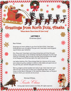 Santa Letter and Northern Lights Package for Babies and Kids, Letter 5 shown. Available from Santa's Letters and Gifts in North Pole, Alaska.