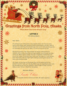 Deluxe Santa Letter and Tube Package for Babies and Kids. Letter 6 shown. Available from Santa's Letters and Gifts in North Pole, Alaska.