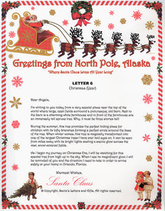 Santa Letter and Northern Lights Package for Babies and Kids, Letter 6 shown. Available from Santa's Letters and Gifts in North Pole, Alaska.