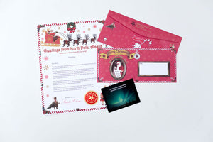 Our Santa Letter and Envelope Package includes a personalized letter from Santa, a beautiful Northern Lights photo card and our authentic foil seal from North Pole. Available at Santa's Letters and Gifts-North Pole, Alaska or visit SantasLettersAndGifts.com