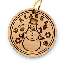 Load image into Gallery viewer, Snowman Ornament, made from Alaska Birch and available at Santa's Letters and Gifts-North Pole, Alaska