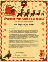 Load image into Gallery viewer, Deluxe Santa Letter and Tube Package for Teens, Adults and Pets. Teen Letter for Boy or Girl shown. Available from Santa's Letters and Gifts in North Pole, Alaska.
