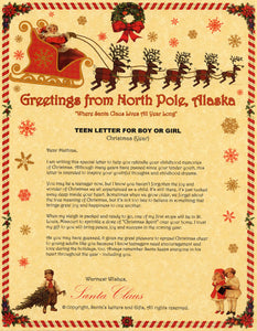 Deluxe Santa Letter and Tube Package for Teens, Adults and Pets. Teen Letter for Boy or Girl shown. Available from Santa's Letters and Gifts in North Pole, Alaska.