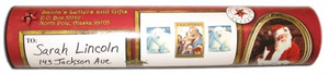 Sample of custom North Pole, Alaska mailing tube featuring a photo of Santa, North Pole postmark and made in Alaska symbol. Available from Santa's Letters and Gifts in North Pole, Alaska.
