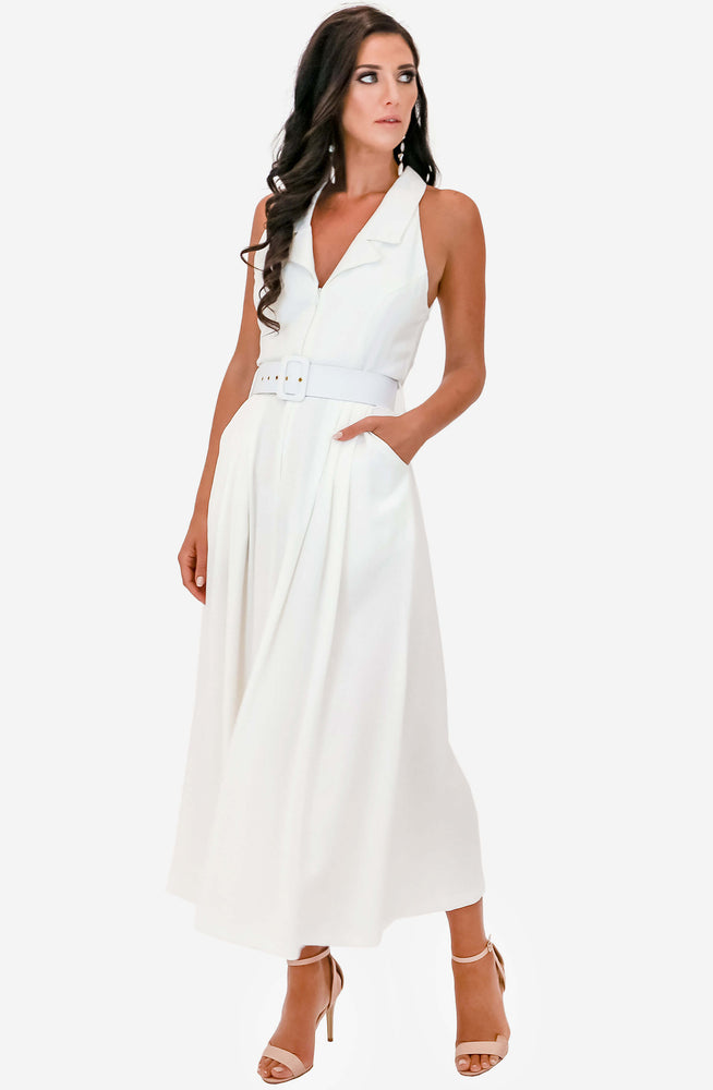 High Society White Midi Dress by Pasduchas