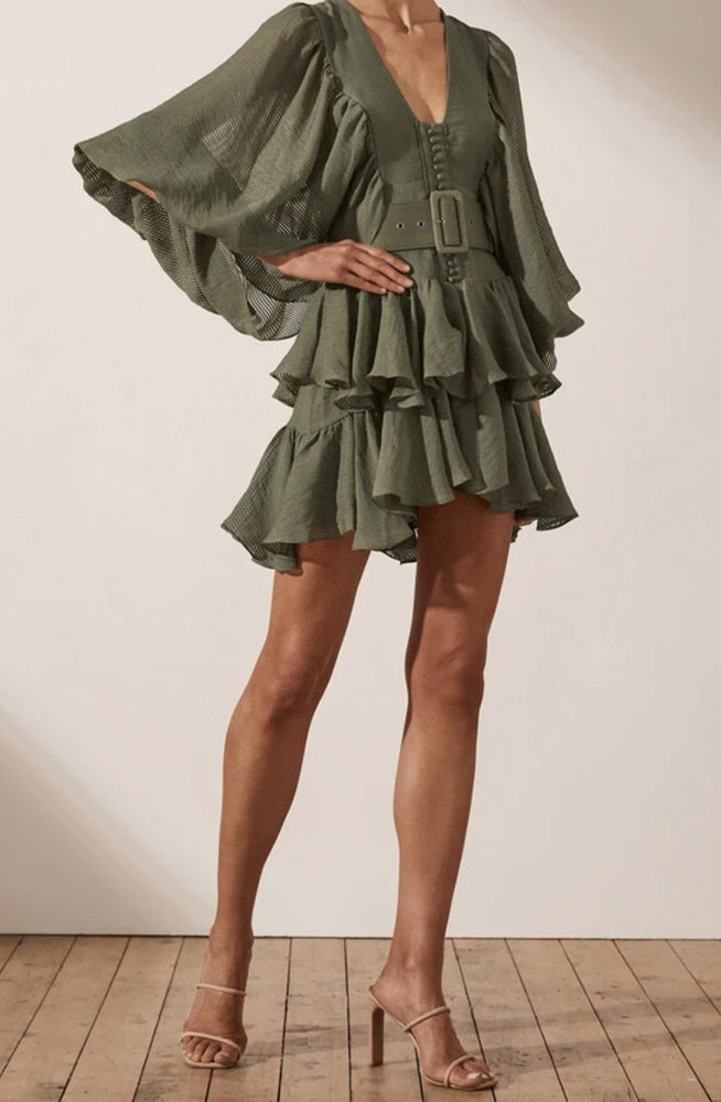 Charlotte Draped Mini Dress - Khaki Shona Joy