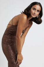 Chocolate Sequin Cross Back Dress By Johnny