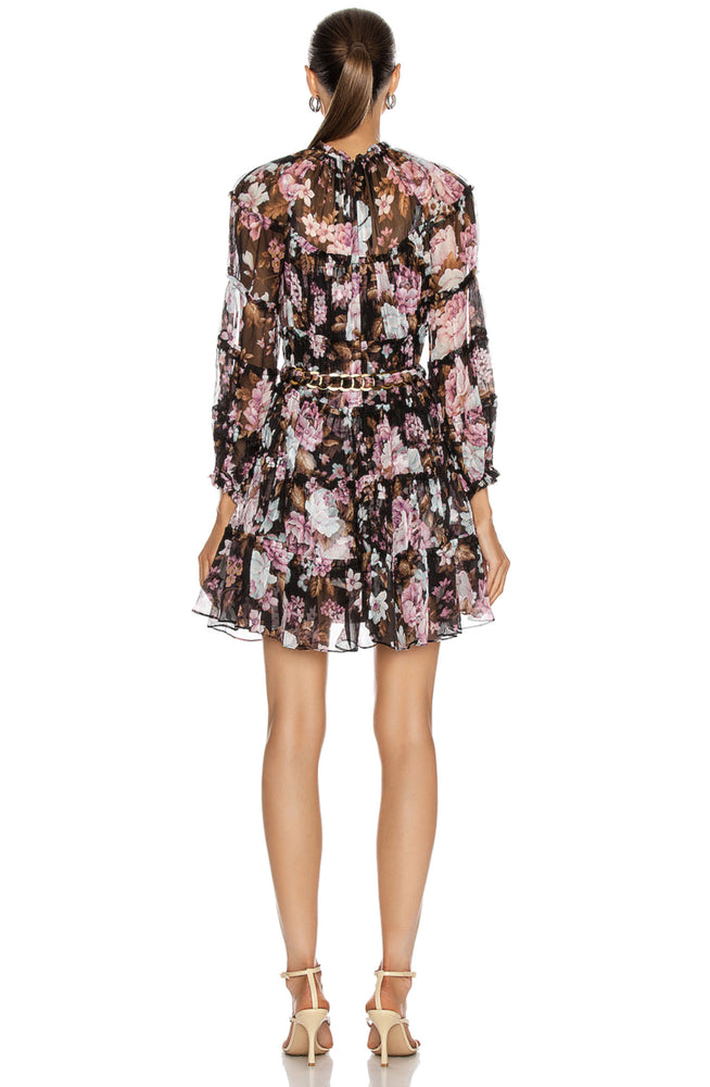 Charm Tiered Mini Dress Black Floral by Zimmermann