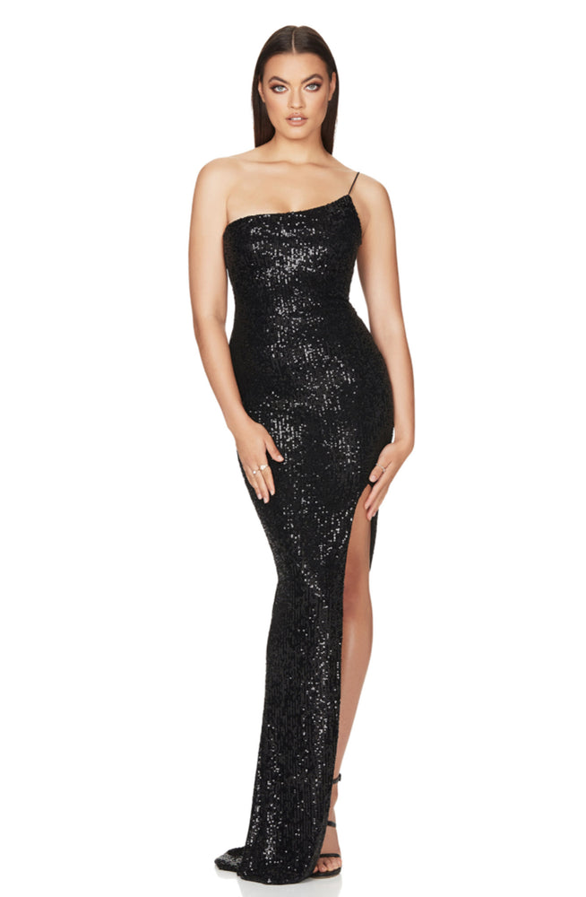 Black Demi One Shoulder Gown by Nookie