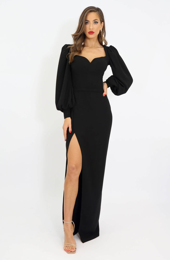 Void Black Long Sleeve Dress by HSH