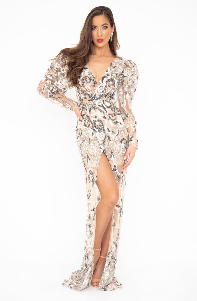 Marble Sequin Gown by HSH