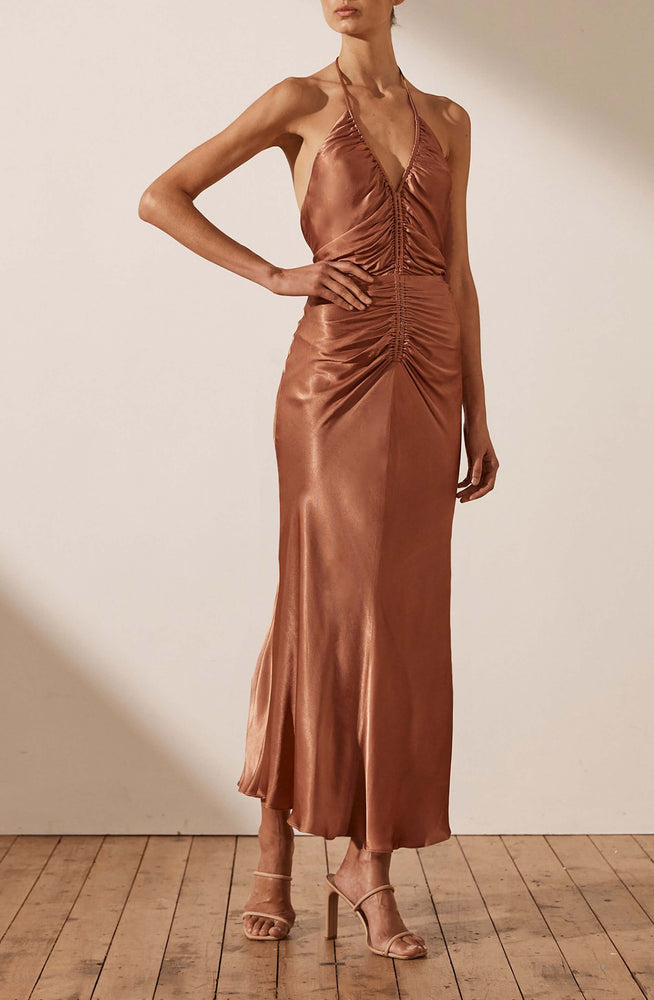 Gala Halter Ruched Midi Dres By Shona Joy