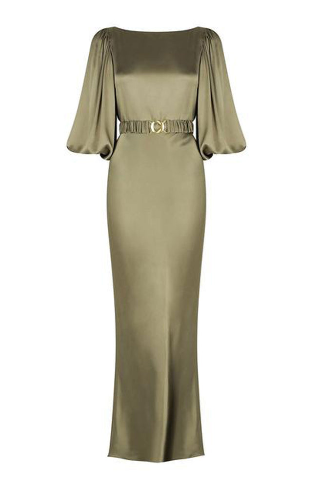 Giselle Balloon Sleeve Midi Dress With Belt Moss By Shona Joy