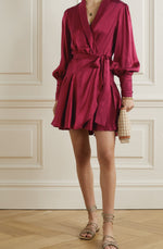 Gathered washed silk-satin mini wrap dress by Zimmermann