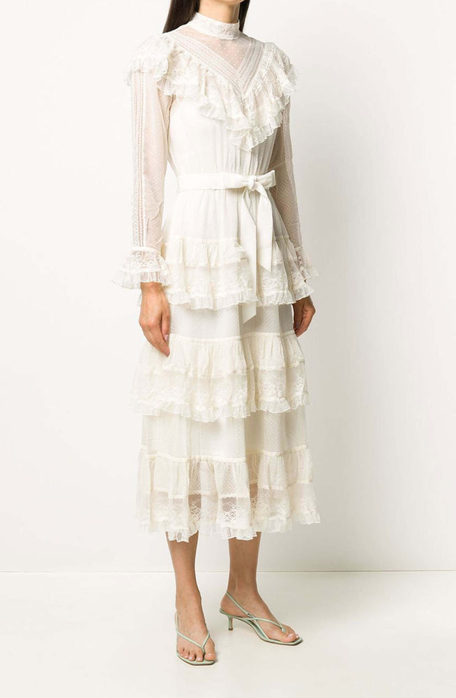 Glassy frilled lace midi dress by Zimmermann