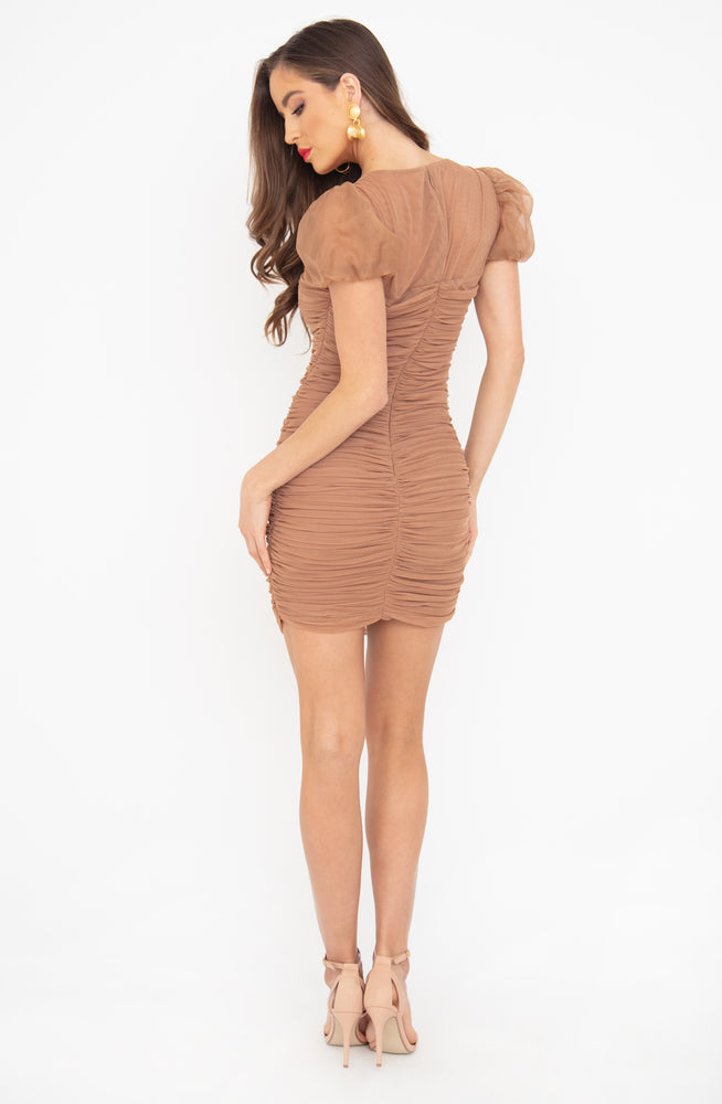 Marcia - Tan Puff Sleeve Ruched Dress by House of CB