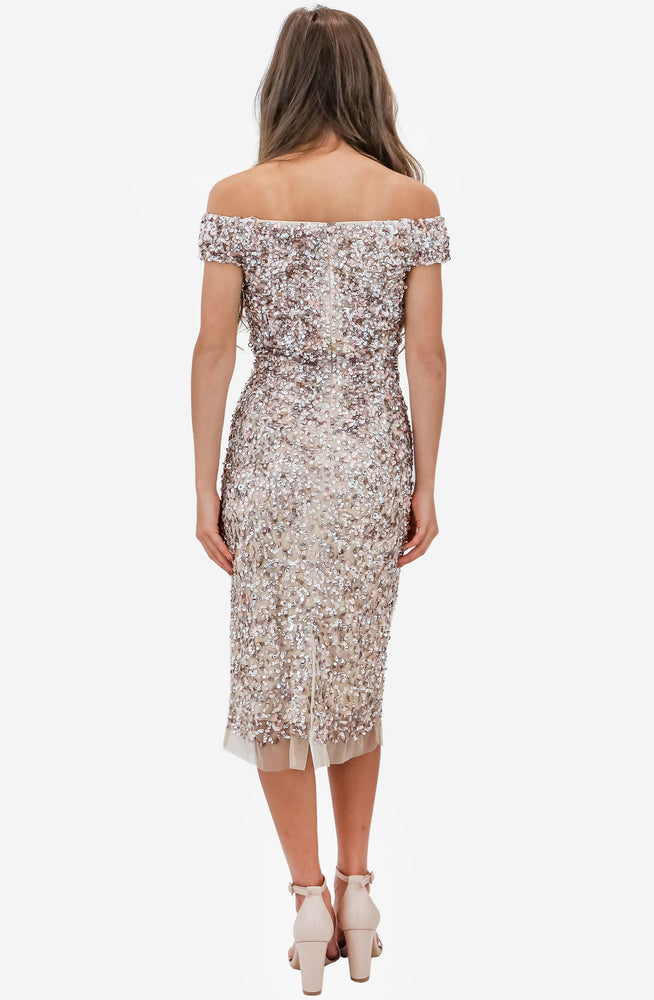 Chiara Hand Beaded Marshmallow Dress by Montique