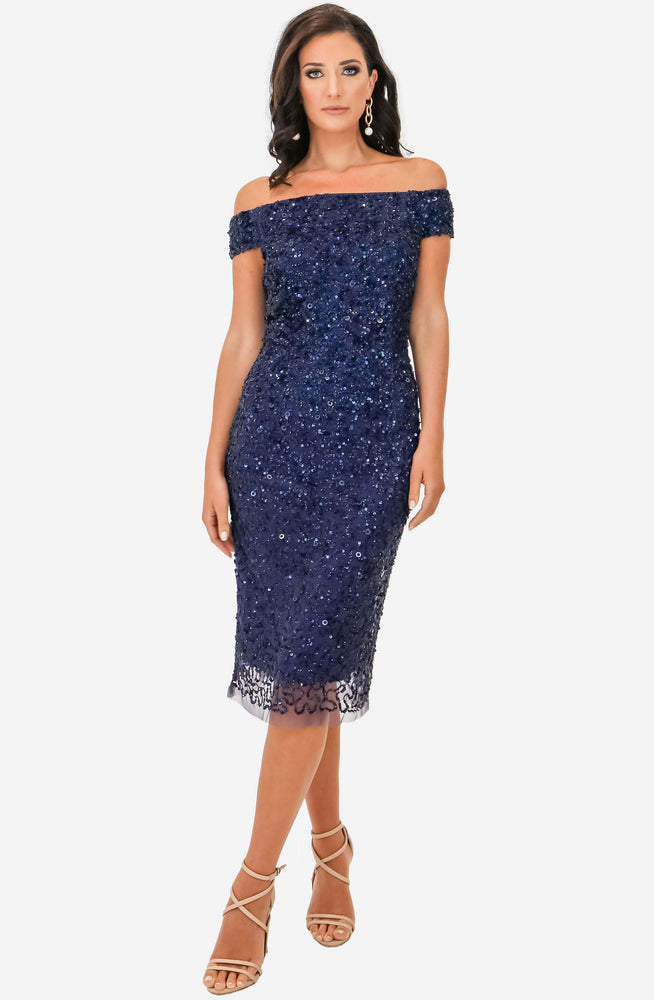 Chiara Hand Beaded Navy Dress by Montique