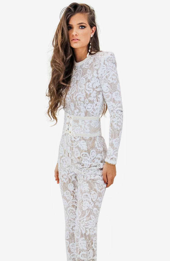 Bella White Jumpsuit by Nadine Merabi