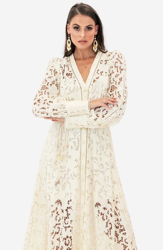 Freja Broderie Button Up Dress by Zimmermann