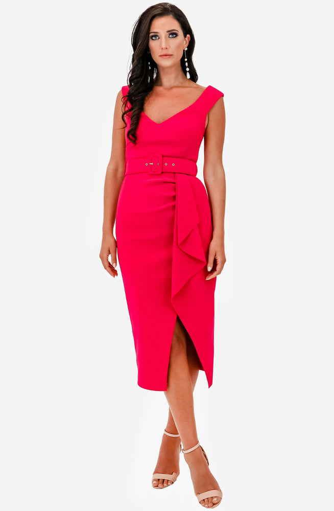 Dynasty Waterfall Pink Midi Dress by Pasduchas