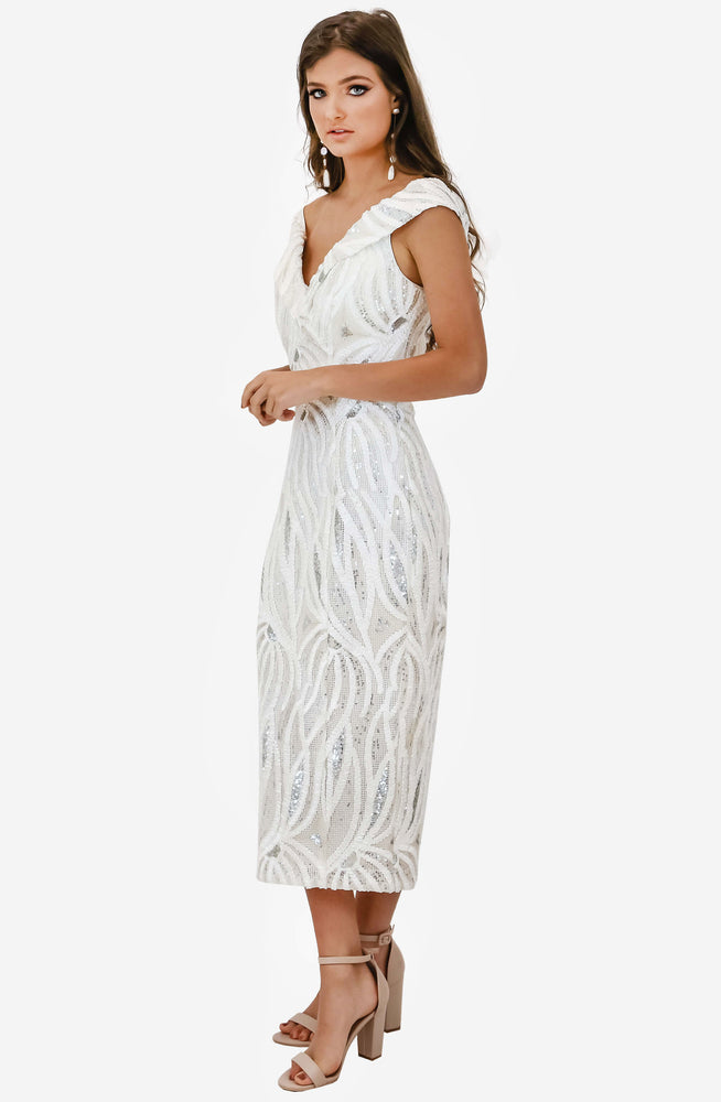 Reese Ivory Midi Dress by Jadore (JX1018)