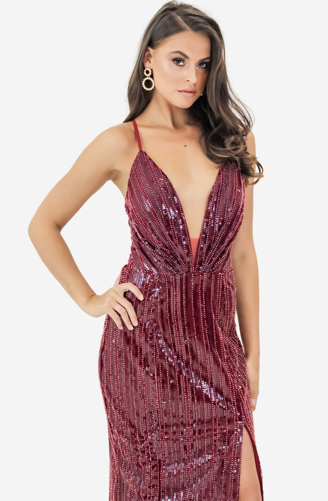 Backless Sequin Maxi Dress by Jadore (JX2006)