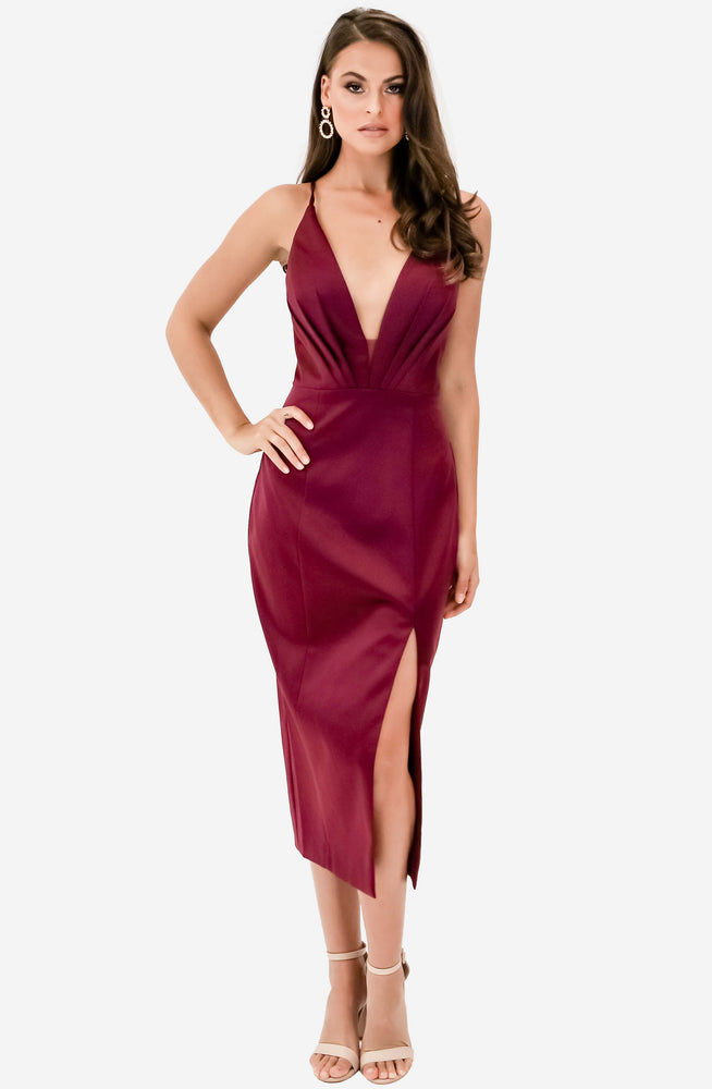 Low V Neck Satin Berry Midi Gown by Jadore (JX1101C)