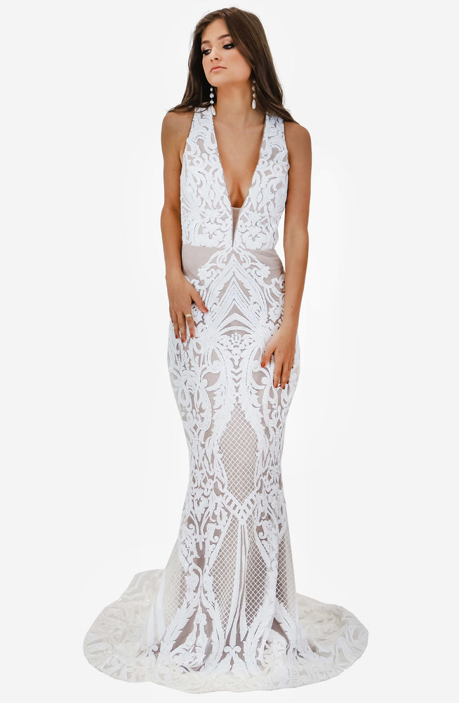 Jadore V Neck Ivory Sequin Gown by Jadore (JX1091)