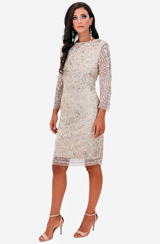 Bellisima Mink Beaded Cocktail Dress by Montique