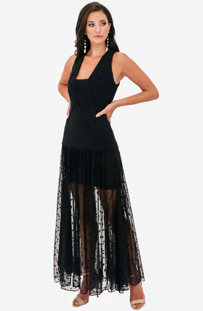 Lace/Polka Dot Mesh Maxi Archive by White Suede
