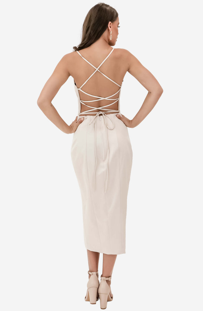 Low V Neck Satin Nude Midi Gown by Jadore (JX1101C)