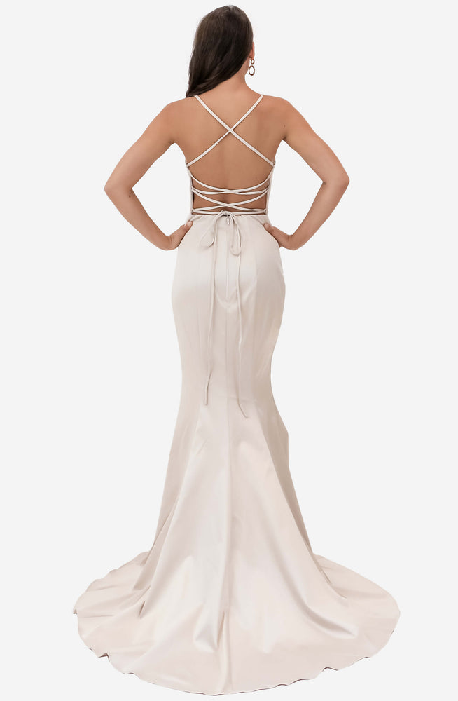 Low V Neck Satin Nude Gown by Jadore (JX1101)