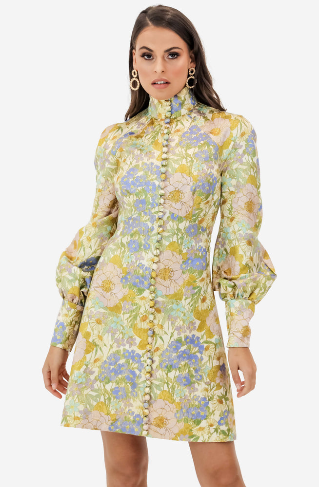 Super Eight Brocade Long Sleeve Mini Dress by Zimmermann
