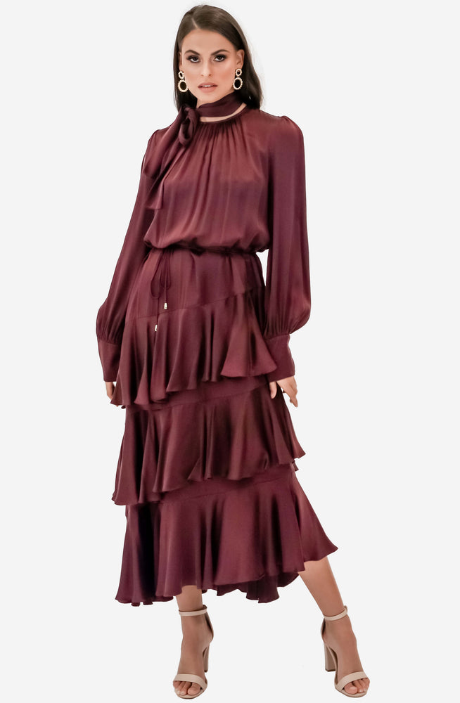 Espionage Silk Flounce Mahogany Dress by Zimmermann