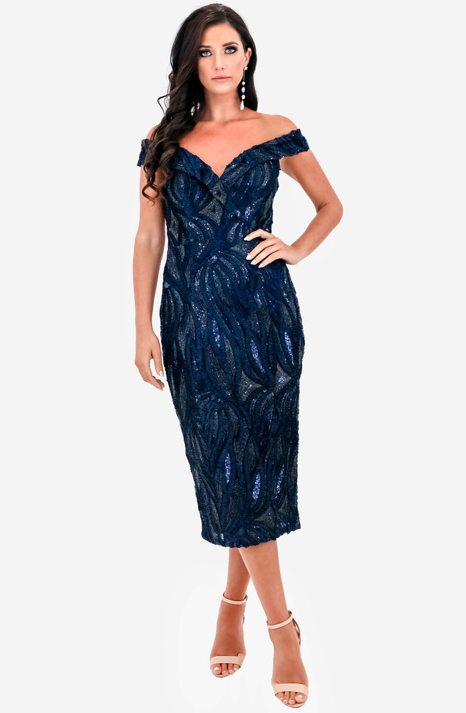 Reese Navy Midi Dress by Jadore (JX1018)