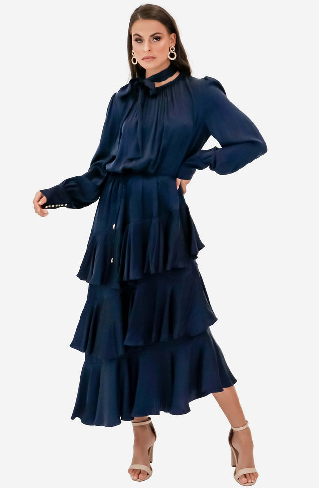Espionage Silk Flounce French Navy Dress by Zimmermann
