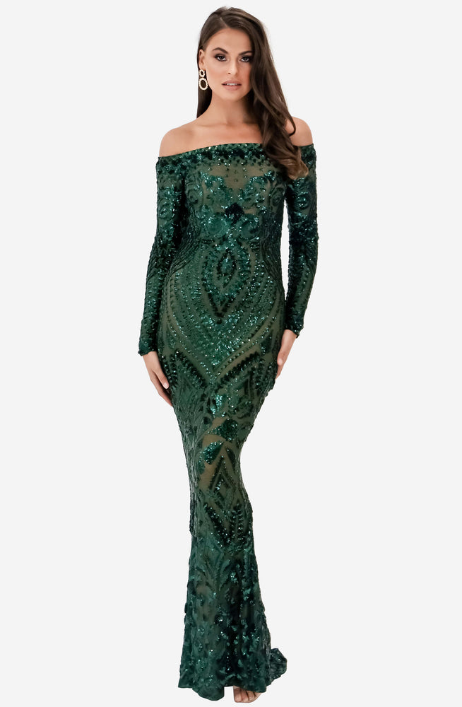 Arabella Emerald Green Dress by Nadine Merabi