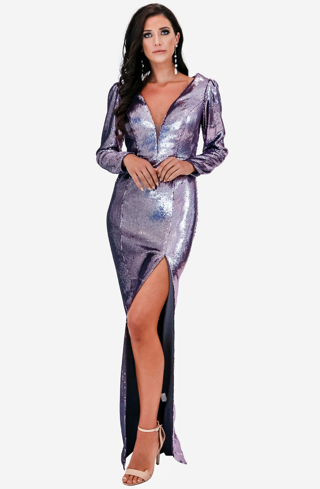 Ice Smoke Sequin Gown by Jadore (JX2101)