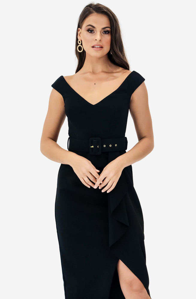 Dynasty Waterfall Black Midi Dress by Pasduchas