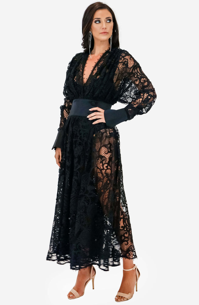 Black Juno Lace Dress by Leo & Lin