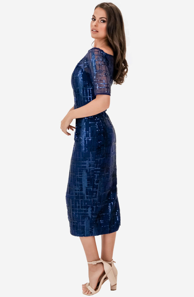 Sheer Sleeved Navy Midi Dress by Jadore (JX1080)