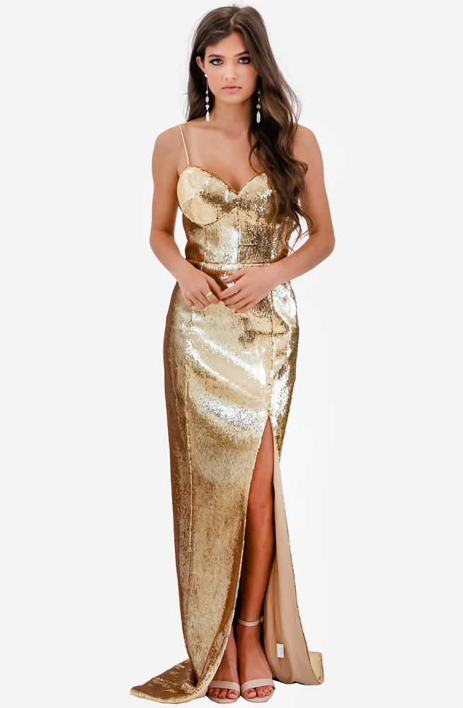 Gold Sequin Bustier Gown by Jadore (JX2044)